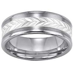 Tungsten Carbide & Sterling Silver Men's Wedding Band $320
