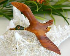 Mallard Duck Brooch Wood Carved
