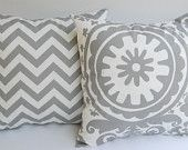 "Throw pillow covers set of two 18"" x 18"" Greek Key and chevron - pale smokey blue and natural. $32.00, via Etsy."