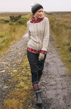 I think I like the landscape as much as I like the outfit. Can I live in the country and trudge around in big sweaters and galoshes?