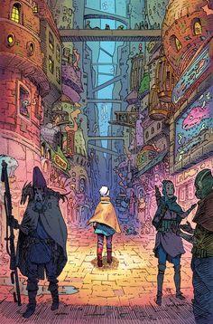 Cover art for The Spire written & co-created by Simon Spurrier, coloured by Tamra Bonvillain. Art And Illustration, Illustrations, Kunst Inspo, Art Inspo, Comic Kunst, Comic Art, Comic Book, Fantasy Kunst, Fantasy Art