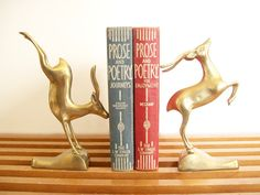 Art Deco Brass Gazelle Bookends Book Ends Vintage by tatterandfray, $89.00