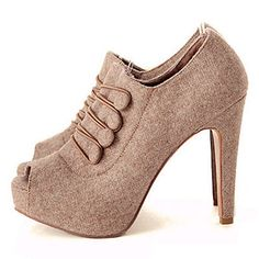 Sexy Lady Women Platform Pumps Peep Toe Boots High Heels Shoes Beige/Black/Gray