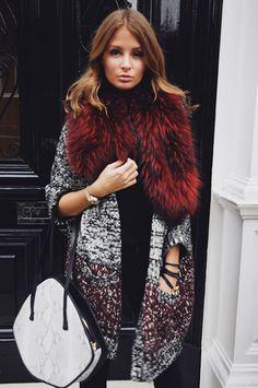 burgundy fur + sparkly coat / Millie Mackintosh
