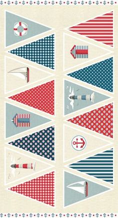 Ahoy Bunting Panel 1472-1 by Henley Studios for Makower
