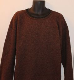 Woolrich  men's Crewneck Wool Ski Sweater Brown Size Large L #Woolrich #Crewneck
