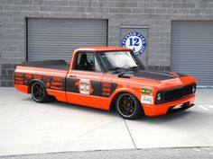 """Bob Bertelsen's """"Orange Rush"""" '69 Chevy C-10 pickup features a 648HP Kurt Urban LS7, Bowler Performance Transmissions Tremec T56, Detroit Speed suspension, JRi Shocks, Baer Brakes, and Falken Tires on 18-inch Forgeline CF3C wheels finished with Satin Black centers and Transparent Smoke outers. See more at: http://www.forgeline.com/customer_gallery_view.php?cvk=1391  #Forgeline #CF3C #notjustanotherprettywheel #madeinUSA #Chevy #C10"""