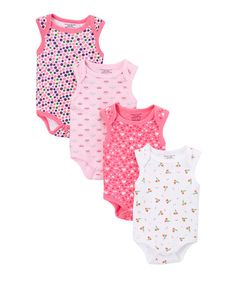 This Pink & White Sleeveless Four-Piece Bodysuit Set - Infant is perfect! #zulilyfinds