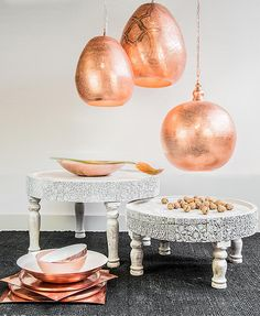 Oriental rose gold lights from Zenza Modern Moroccan, Moroccan Decor, Rose Gold Lights, Oriental Decor, Moroccan Interiors, Hanging Lights, Wood Table, Interior Inspiration, Home Accessories