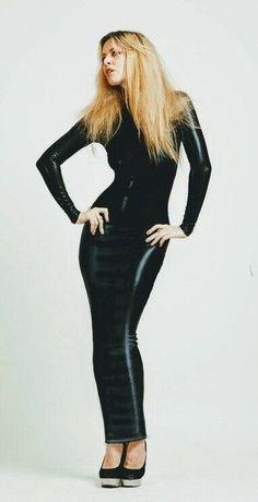 Long spandex hobble dress Long Leather Skirt, Leather Skirts, Dress Skirt, Bodycon Dress, Hobble Skirt, High Fashion, Womens Fashion, Mermaid Skirt, Clubwear