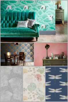 The new Harlequin Palmetto wallpaper collection takes it's inspiration from the glamour of the 1920's and includes designs in stunning colours such as emerald and blush.