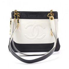 Vintage Chanel Black x White Leather Tote Shoulder Bag