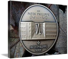 "Patek Philippe Geneve commemorative medal coin canvas print in Stretched Canvas configuration. Price starts at $62 (Petite 7"" x 10""). // #patekphilippe #medallion #canvasprint #photoincanvas #homedecor #walldecor // http://www.imagekind.com/Patek-Philippe-Geneve-PPG_art?IMID=8a85802b-eeec-4645-9012-f6a2af3151ab"