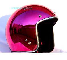 Retro DOT Bubble Motorcycle Helmet (Plating purple)