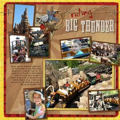 Big Thunder Mtn I like the colors Disney Scrapbook Pages, Scrapbooking Layouts, Scrapbook Cards, Disney College Program, Scrapbook Background, Disney Rides, Thing 1, Disney Magic Kingdom, Photo Layouts