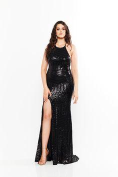 A&N Curve Cosmo- Black Sequins Gown with Lace-Up Back and Slit Black Sequin Gown, Black Sequins, Curve Prom Dresses, Sparkly Dresses, Designer Formal Dresses, Sequin Fabric, Slit Dress, Boutique Dresses, Plus Size Dresses
