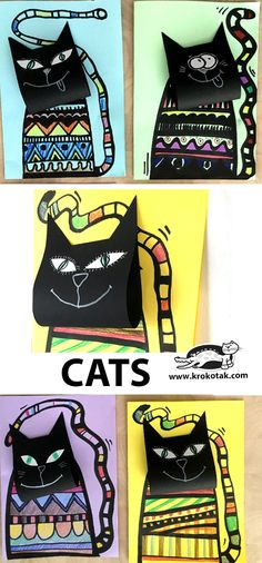 Cats (krokotak) Cats The post Cats (krokotak) appeared first on Halloween Crafts. Fall Art Projects, Art Projects For Adults, Toddler Art Projects, Splat Le Chat, 2nd Grade Art, Diy Outfits, Art Lessons Elementary, Art School, High School
