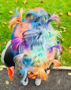 Crazy hair day of October 2018 Coloured Hair Spray, Crazy Hair Days, Ponytail, Blonde Hair, Color, Weird Hairstyles, Cola De Caballo, Pigtail Hairstyles, Colour