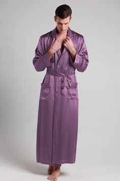 Looking for purple color 100-percent high quality robes silk online? Here it is with custom plus size, which is chosen from 19 momme mulberry silk. $99 #robes #silk #lilysilk