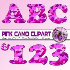 Hot Pink Camouflage Digital Alphabet, Pink Camo Alphabet, Printable Camo Letters + Numbers + Punctuation, Hot Pink and Purple Camo Letters #digitalscrapbooking #photographybackdrops