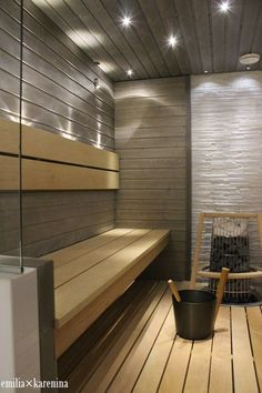 Kivi sauna heater with a heater guard adds safety in family saunas Sauna Steam Room, Sauna Room, Saunas, Sauna Lights, Sauna Hammam, Sauna Design, Finnish Sauna, Spa Rooms, Front Rooms