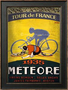 Vintage-A3-Tour-de-France-c1935-Shabby-Old-Cycle-Poster-Art-On-Cotton-Canvas