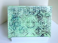 Gelli printed card. Instead of getting paint on my embossing folder, I embossed clear contact paper and used that as a texture plate.