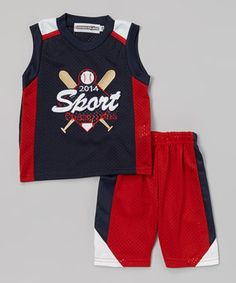 Love this Navy 'Sport Champions' Tank & Shorts - Infant, Toddler & Boys by Coney Island Kids on #zulily! #zulilyfinds