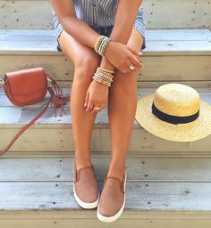 Sofft Somers Sneakers, women's slip on sneakers, beaded bracelets, straw hat, boater hat, cross body bag, haute off the rack, 4th of july, women's fashion,