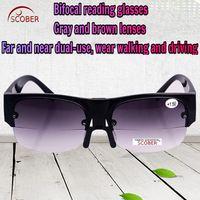 b6f704a5da6 SCOBER   Multifunction Far near Dual use bifocal reading sunglasses gray  and brown lens Adjustable