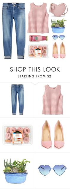 """strawberry donuts & frappuchino ts"" by tinkertot ❤ liked on Polyvore featuring Frame, Banana Republic, CO, Christian Louboutin and Wildfox"