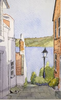 pencil drawings - A watercolour sketch of a view to the sea in Runswick Bay North Yorkshire Landscape Sketch, Landscape Drawings, Urban Landscape, Watercolor Landscape, Landscape Art, Art Drawings, Easy Landscape Paintings, Pencil Drawings, Watercolor Pictures