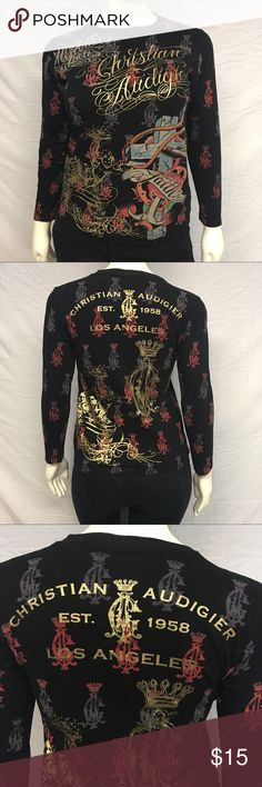 Christian Audigier Longsleeve Tee Cute Christian Audigier longsleeve tee! The logo is in gold lettering. Cool tattoo style print with a cross and gold brocade. In perfect condition. Smoke and pet free home. Christian Audigier Tops Tees - Long Sleeve