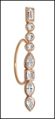 Long diamond Stepping Stone rings by Ilana Ariel; rose gold.