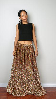 Maxi Skirt  Paisley Skirt  Boho Skirt : Feel Good by Nuichan
