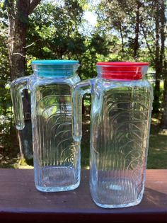 Set Of 2 Vintage Covetro Italian Glass Pitchers by HeyThatsAwesome