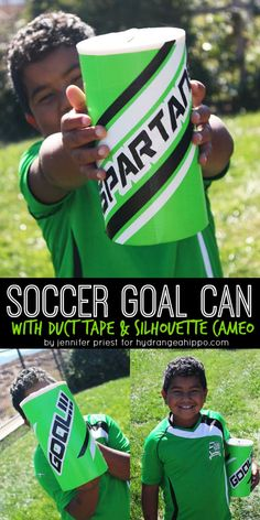 """Are your kids playing soccer this fall? Check out this tradition in the SO Cal AYSO Regions and how you can use the """"Goal Can"""" to motivate the kids - plus how to MAKE the goal can!! DIY Soccer Goal Can with Duck Tape http://hydrangeahippo.com/?p=8788"""