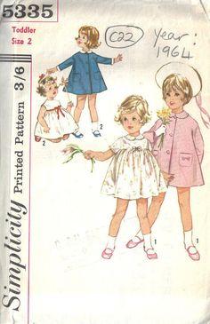 1964 Childrens Vintage Sewing Pattern S2 B21 DRESS & COAT (C22)