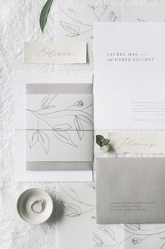 Fine Art Wedding Stationery Design - Neutral - White - Ivory - Grey - Blue - Translucent - Vellum - pencil - illustration - floral - calligraphy - minimal | Gatherie Creative