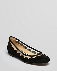 FRENCH CONNECTION Ballet Flats - Bridgit Scalloped Mesh | Bloomingdale's