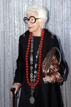 Iris Apfel - jewelry   I want to have this much presence - ever.....maybe I can be like her when I grow up.