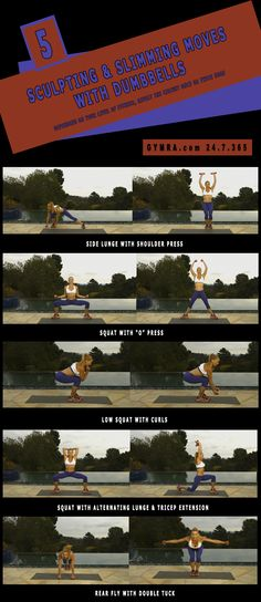 Total Body Workout. Sculpt from head to toe while slimming all over! Click the image to see the moves in GIF form. #dumbbells #fitness #exercise #workout #weightloss #abs #health #healthyliving
