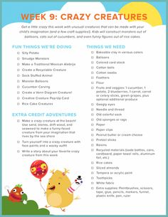Crazy Creatures Checklist | Education.com