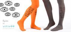 Virirvee printed tights: Eyes                 #printed #virivee #tights #colors #leg #fashion #salmon #eyes #yellow #stockings #leggings #woman #design