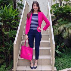 @lookbyus look do dia trabalho moda feminina work fashion style tips looks outfits pink stripes listras Rosa blue azul