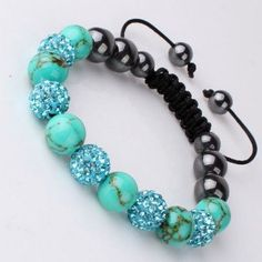 Turquoise Crystal Ball Bracelets,Shamballa Bracelet, 10MM Disco Magnetite Macrame Blue Crystal Bracelet