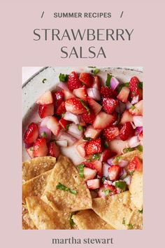 Use up any leftover strawberries with this quick and easy recipe for strawberry salsa. We suggest serving it with salted chips or use it as a topping to grilled fish or chicken for a fresh, seasonal dish. #marthastewart #recipes #recipeideas #fastrecipes #quickrecipe #easy #quick #weeknight Yummy Pasta Recipes, Tilapia Recipes, Quick Recipes, Summer Recipes, Appetizer Recipes, Appetizers, Strawberry Salsa, Strawberry Recipes, Fruit Recipes