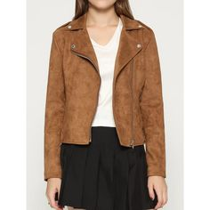 Brown Faux Suede Lapel Biker Jacket (79 CAD) ❤ liked on Polyvore featuring outerwear, jackets, faux suede moto jacket, brown faux-leather jackets, lapel jacket, motorcycle jacket and faux suede jacket