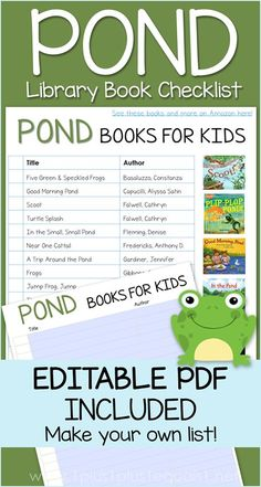 Pond Life Books for Kids with an Editable PDF Library Checklist - create your own book list! Preschool Books, Preschool At Home, Kids Reading, Reading Skills, 3 Year Old Activities, Learning Activities, Create Your Own Book, Pond Life, Teaching Letters