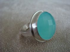 Sea Green Chalcedony Ring - Recycled Silver-I LOVE this stone..need a ring like this...just saw one!!